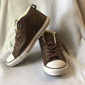 Brown Leather Converse High Top with Fur Inside